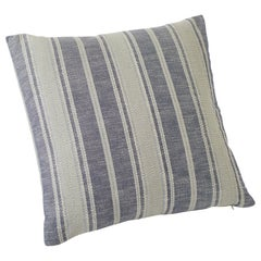 Schumacher Zina Stripe Large Scale Textured Cotton Blue Double-Sided Pillow