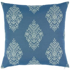 Schumacher Zinda Embroidery Pillow in Bay