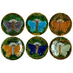 Schütz Josef Steidl Znaim Art Nouveau Moth Majolica Glazed Dessert Set, 6 Plates
