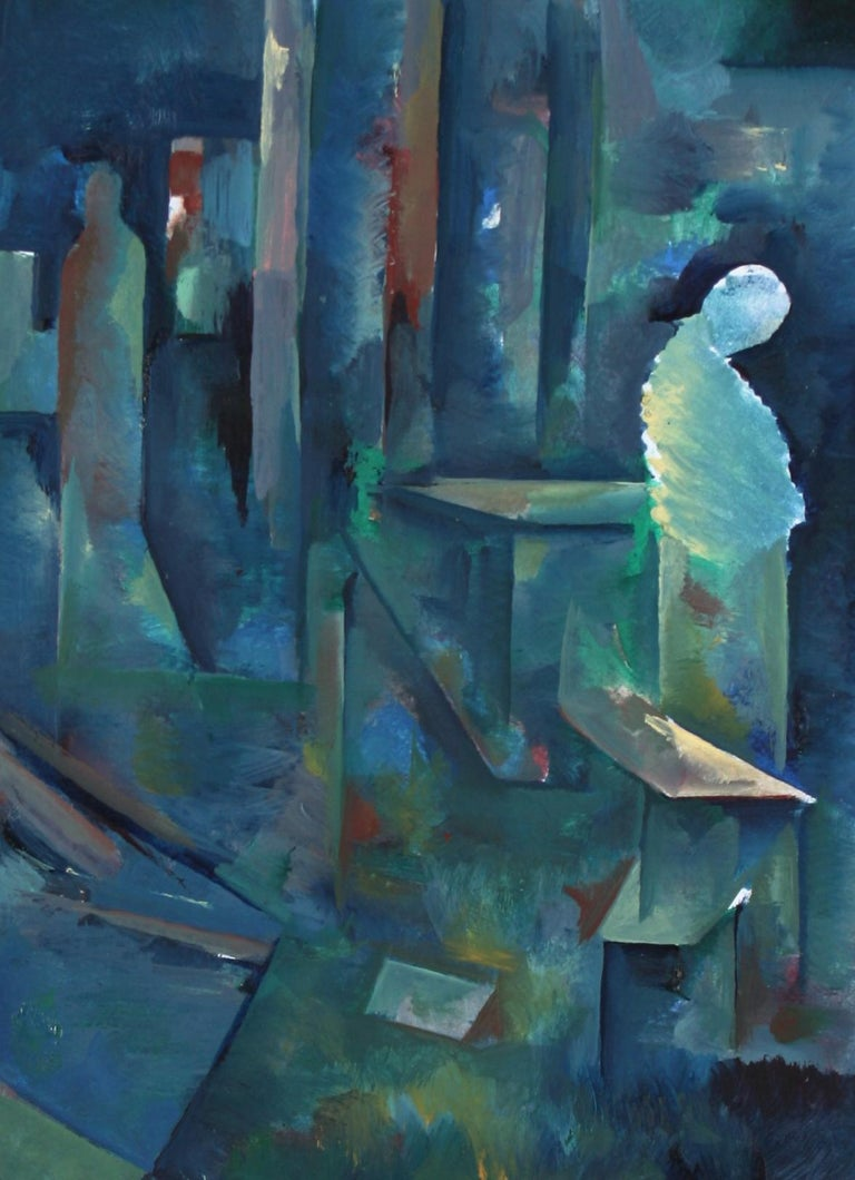 Schuyler Standish Figurative Painting - Abstracted Figure in Space 20th Century Oil on Paper