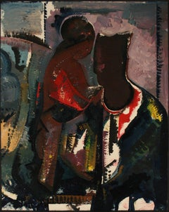 Abstracted Portrait of a Couple Late 20th Century Oil on Paper