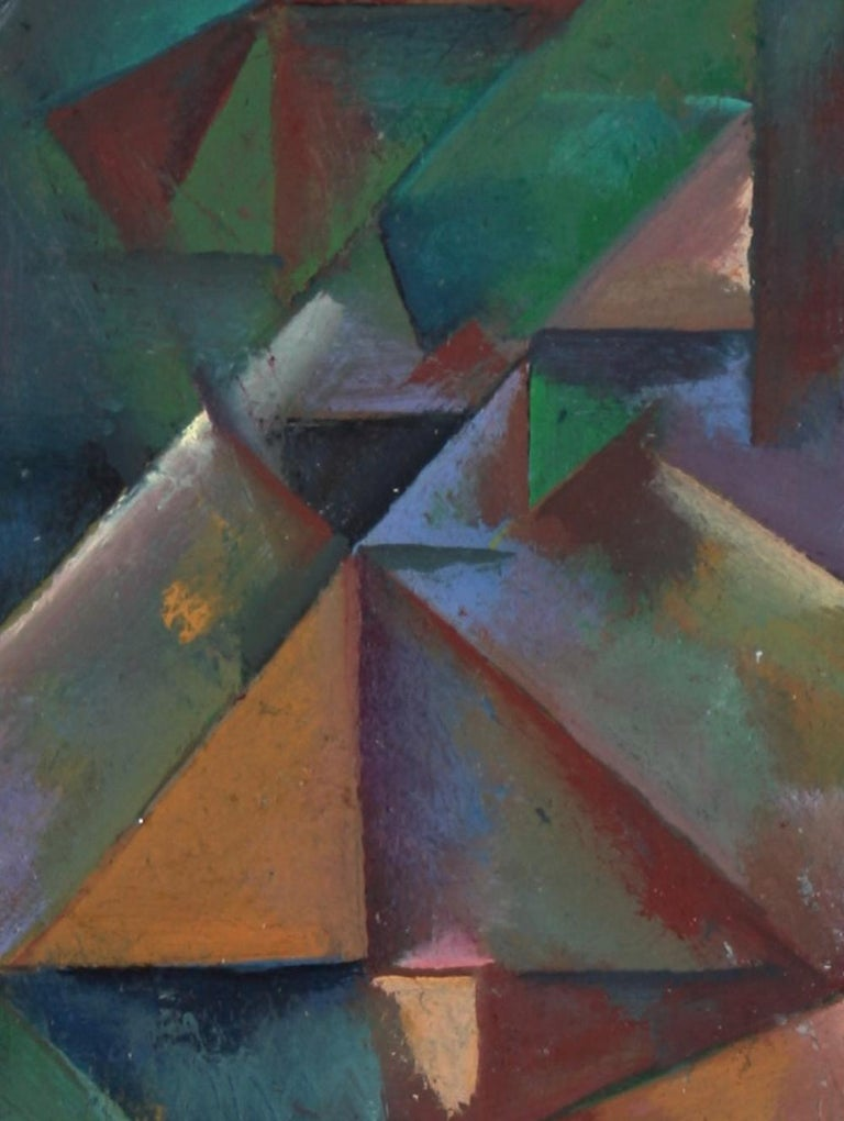 Desaturated Triangular Grid Late 20th Century Oil on Paper - Painting by Schuyler Standish