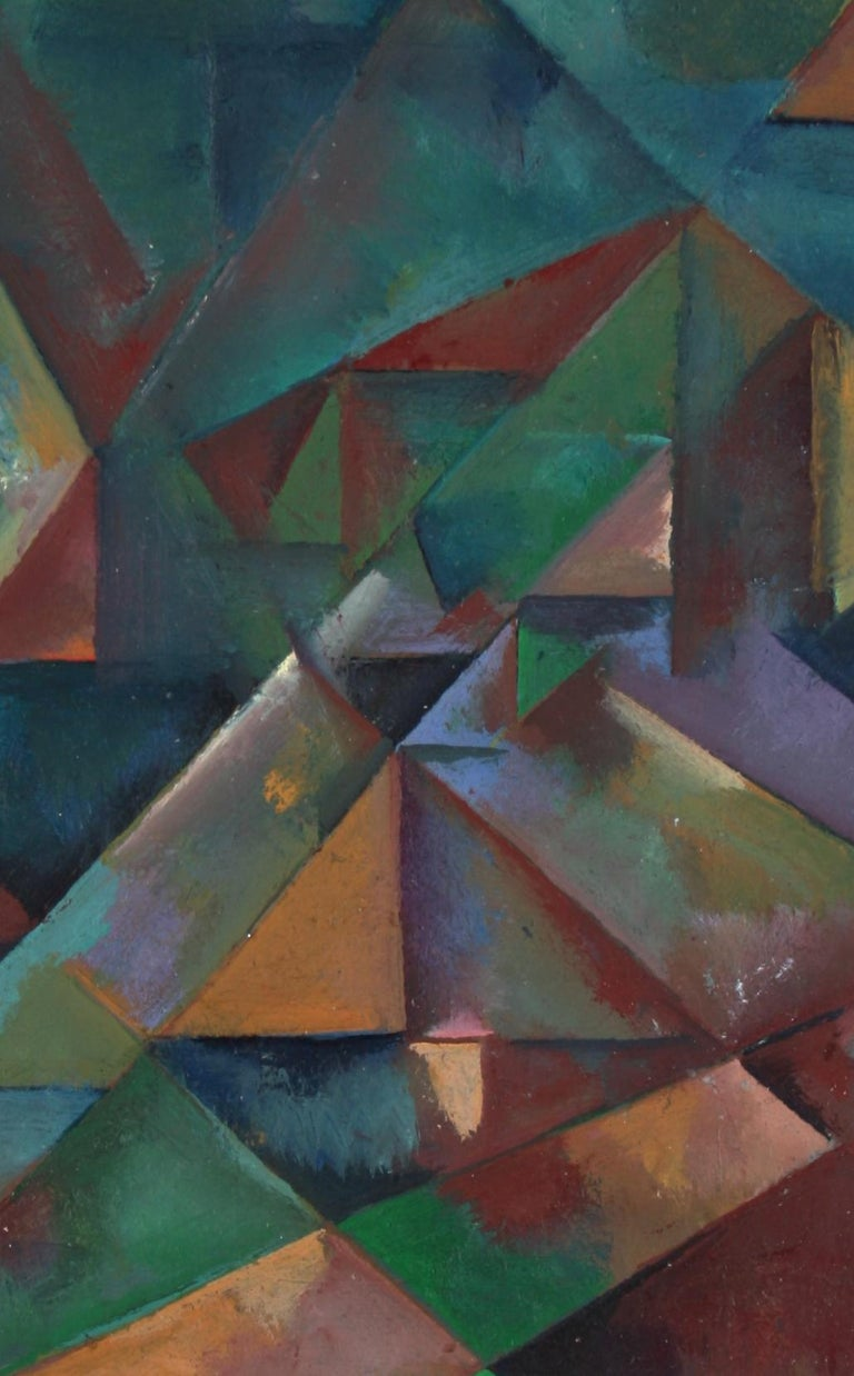 Schuyler Standish Abstract Painting - Desaturated Triangular Grid Late 20th Century Oil on Paper