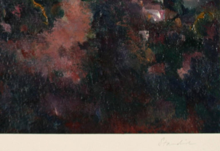 Jewel-Toned Abstracted LA Landscape 1983 Oil on Paper - American Impressionist Painting by Schuyler Standish