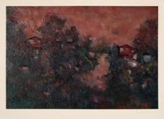 Jewel-Toned Abstracted LA Landscape 1983 Oil on Paper