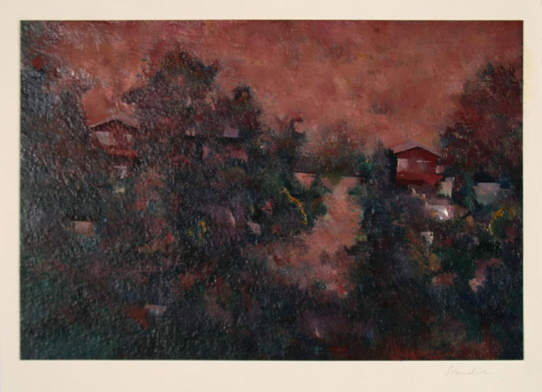 Schuyler Standish Landscape Painting - Jewel-Toned Abstracted LA Landscape 1983 Oil on Paper