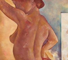 """The Model Study"" 20th Century Oil on Paper Nude Figure Painting"