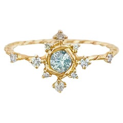 Scilla Aquamarine and Diamond Star Twist Ring 18 Karat