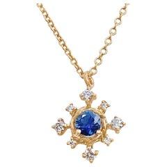 Scilla Blue Sapphire and Diamond Star Drop Pendant Necklace 18 Karat