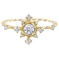Scilla Diamond Star Twist Ring 18 Karat