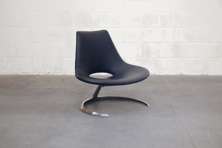 Stainless Steel 'Scimitar' Chair by Fabricius & Kastholm for Ivan Schlecter, Signed, 1960s For Sale