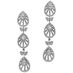 Scintillating 18 Karat White Gold and Diamond Wedding and Engagement Earrings