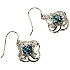 Scintillating Blue Cambodian Zircons Nestled in Delicate Silver Earring Baskets