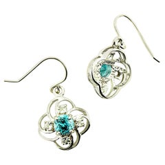 Gemjunky Scintillating Blue Cambodian Zircons in Delicate Silver Earring Baskets