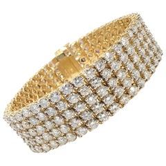 Scintillating 5 Row Diamond Strap Bracelet 30 Carats Total Approximate Weight