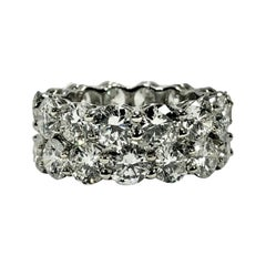 Matched Pair of Platinum Common Prong Set Eternity Bands 11.86Ct Total Weight
