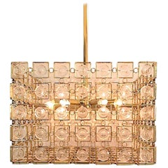 Sciolari 1970s Italian Gold and Crystal Disk Geometric Cube Chandelier