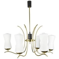 Stilnovo mid 20th century Chandelier Brass and Opaline Glass, 1960s, Italy