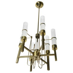 Sciolari Chandelier Brass with Long Frosted/Clear Glass, Stilnovo, Italy, 1960