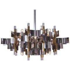 Sciolari Chandelier `Futura` 12-Lights, Brass, Chrome and Lucite, 1976 Italian