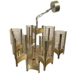 Sciolari Chandelier of Brass, Chrome and Glass