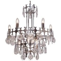 Sciolari chandelier `Ovali` 12 lights, chrome with crystals, circa 1970s