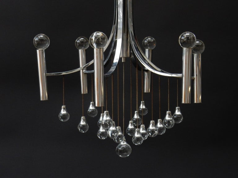 Mid-Century Modern Sciolari Chandelier with Clear Glass Globes For Sale