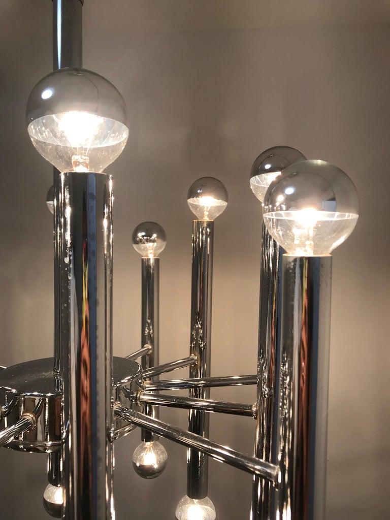 20th Century Sciolari Chrome 24-Light Chandelier For Sale