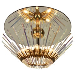 Sciolari Crystal Glass Rods Flush Mount with Mirror Glass and Brass