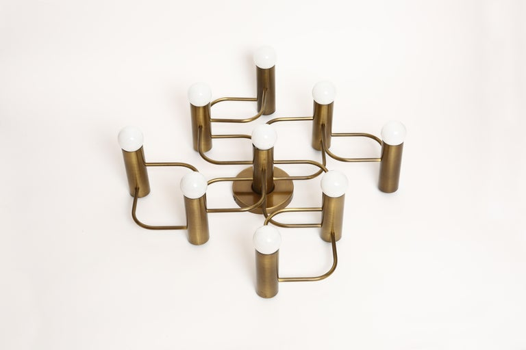 Patinated Sciolari Flushmount by Leola in Brass For Sale