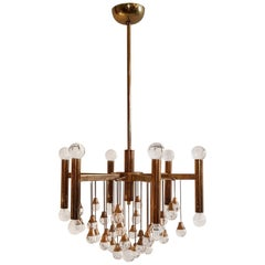 Sciolari Glass Ball Chandelier in Gold, 1960s