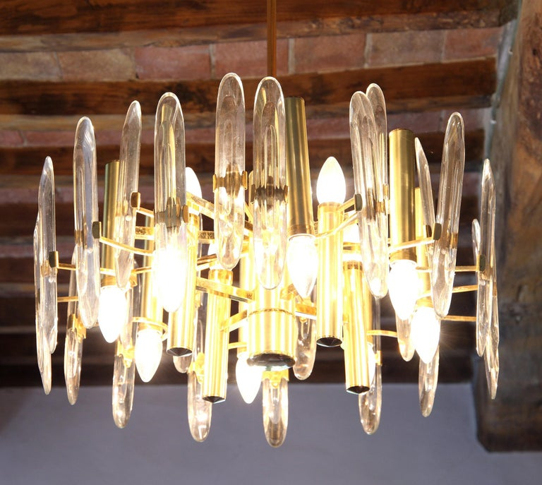 Sciolari Gold Brass Led Crystal Mid-Century Chandelier 12 Lights Stilkronen, 70s For Sale 2