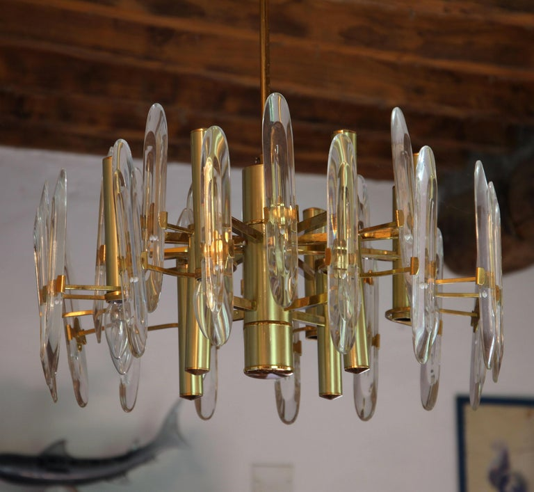 Sciolari Gold Brass Led Crystal Mid-Century Chandelier 12 Lights Stilkronen, 70s For Sale 3
