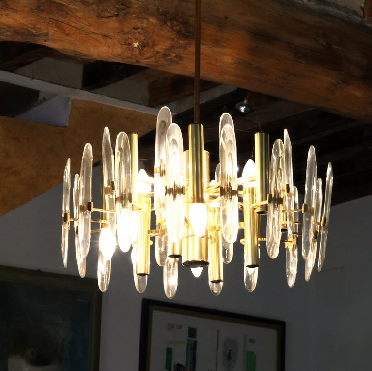 Sciolari Gold Brass Led Crystal Mid-Century Chandelier 12 Lights Stilkronen, 70s For Sale 4