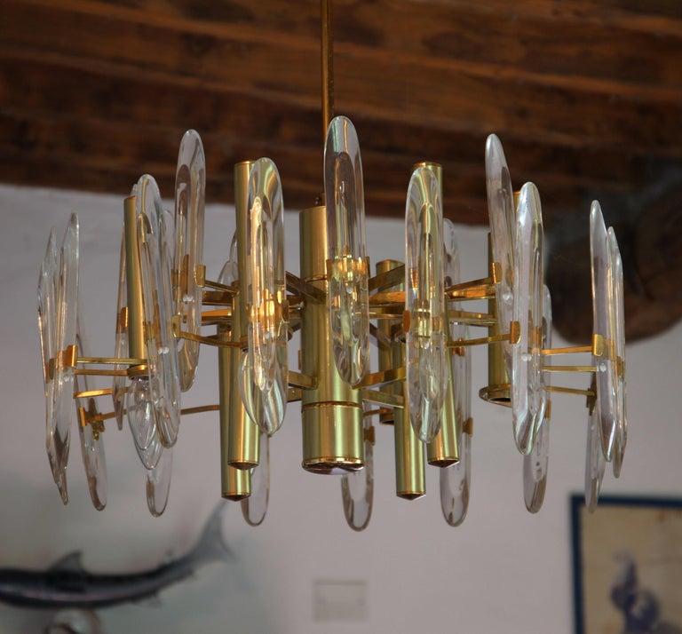 Sciolari Gold Brass Led Crystal Mid-Century Chandelier 12 Lights Stilkronen, 70s For Sale 5