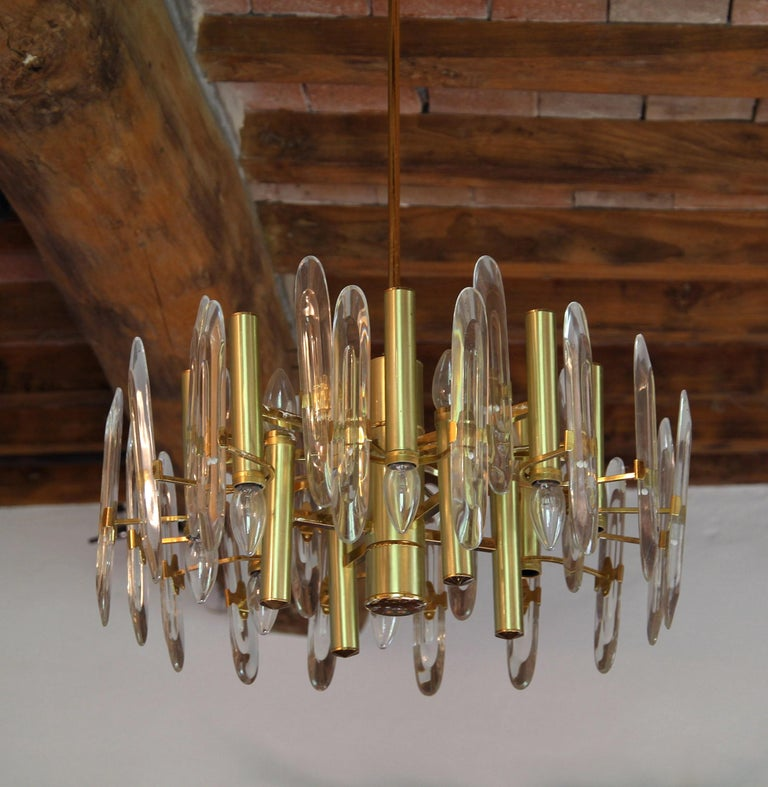 Sciolari Gold Brass Led Crystal Mid-Century Chandelier 12 Lights Stilkronen, 70s For Sale 6