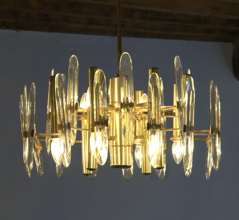 Sciolari Gold Brass Led Crystal Mid-Century Chandelier 12 Lights Stilkronen, 70s For Sale 7