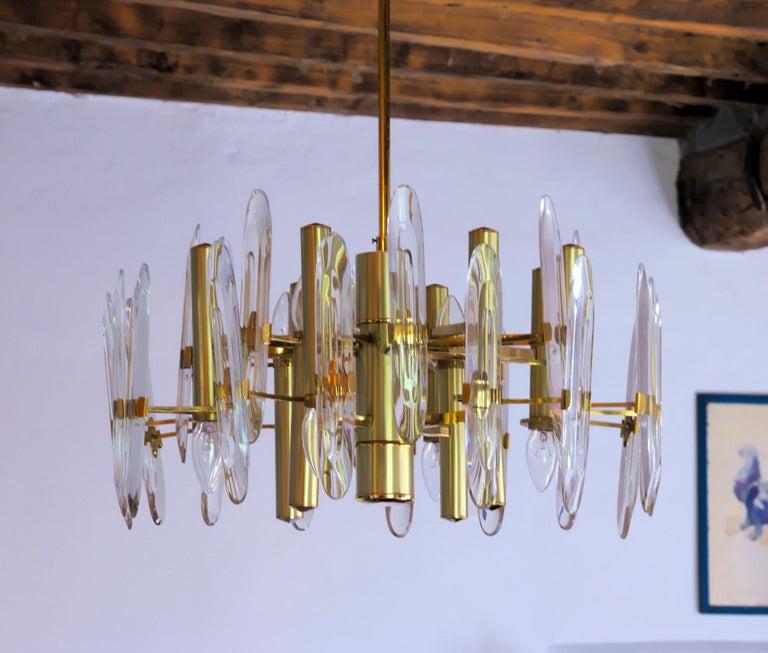 Sciolari Gold Brass Led Crystal Mid-Century Chandelier 12 Lights Stilkronen, 70s For Sale 8