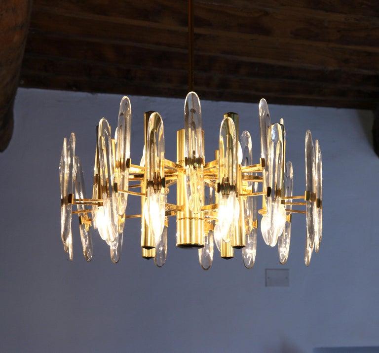 Sciolari Gold Brass Led Crystal Mid-Century Chandelier 12 Lights Stilkronen, 70s For Sale 9