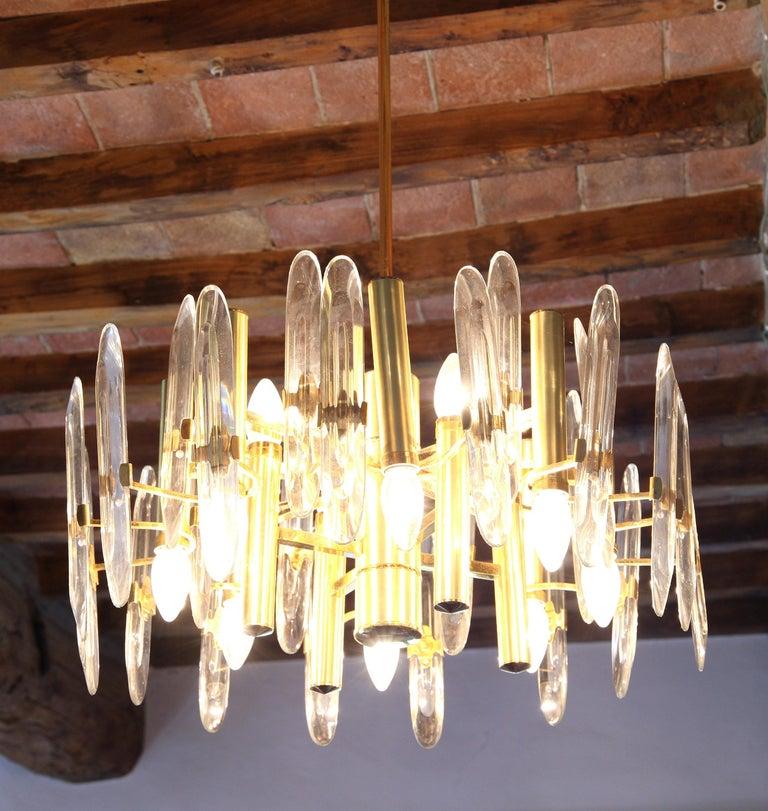 Sciolari Gold Brass Led Crystal Mid-Century Chandelier 12 Lights Stilkronen, 70s For Sale 10
