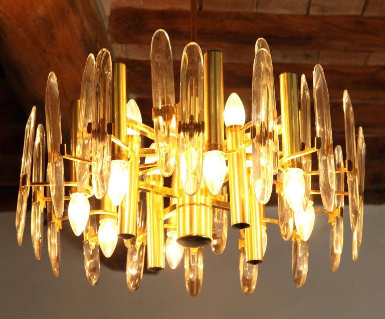 Sciolari Gold Brass Led Crystal Mid-Century Chandelier 12 Lights Stilkronen, 70s For Sale 11
