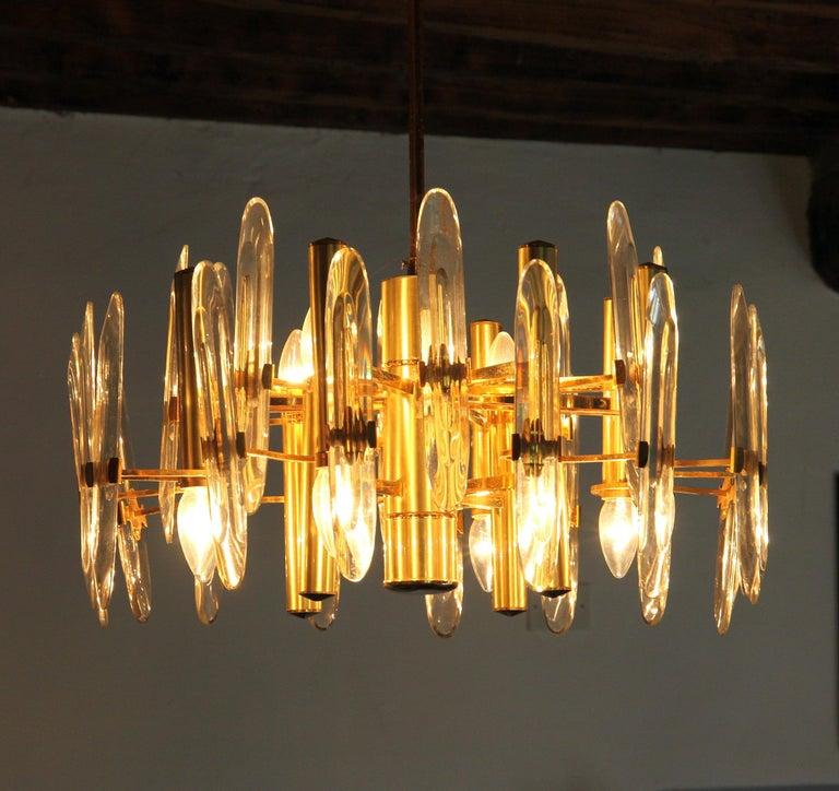 Mid-Century Modern Sciolari Gold Brass Led Crystal Mid-Century Chandelier 12 Lights Stilkronen, 70s For Sale