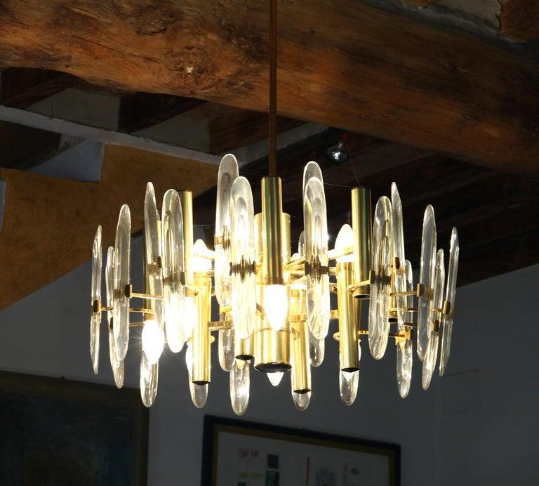 Italian Sciolari Gold Brass Led Crystal Mid-Century Chandelier 12 Lights Stilkronen, 70s For Sale