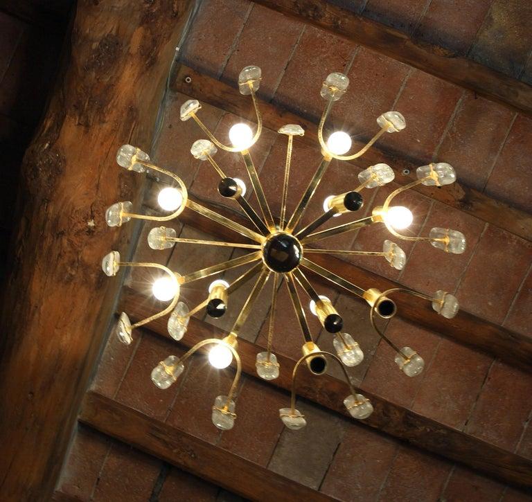 Plated Sciolari Gold Brass Led Crystal Mid-Century Chandelier 12 Lights Stilkronen, 70s For Sale