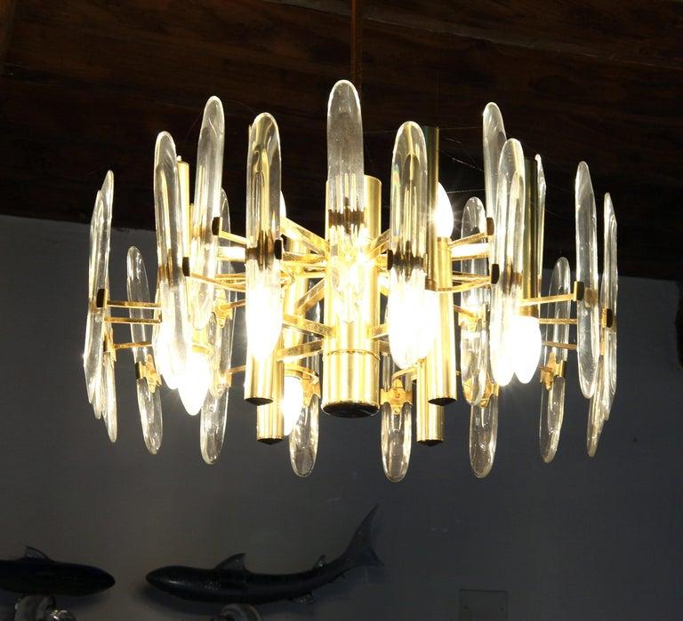 Sciolari Gold Brass Led Crystal Mid-Century Chandelier 12 Lights Stilkronen, 70s In Fair Condition For Sale In Tavarnelle val di Pesa, Florence