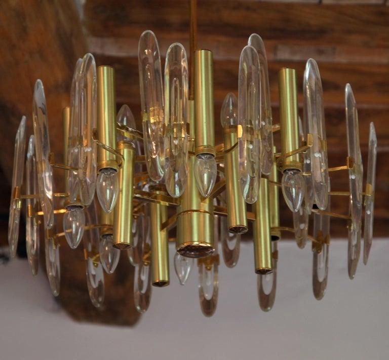 Late 20th Century Sciolari Gold Brass Led Crystal Mid-Century Chandelier 12 Lights Stilkronen, 70s For Sale