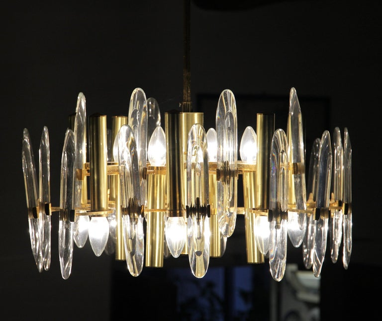 Gold Plate Sciolari Gold Brass Led Crystal Mid-Century Chandelier 12 Lights Stilkronen, 70s For Sale