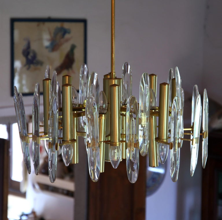 Sciolari Gold Brass Led Crystal Mid-Century Chandelier 12 Lights Stilkronen, 70s For Sale 1