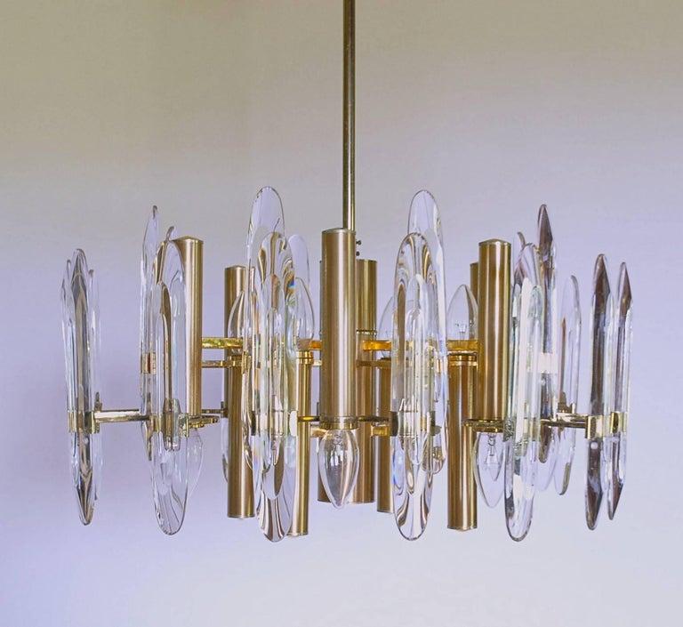 Sciolari Gold Brass Led Crysal Mid-century Chandelier 12 Lights Stilkronen  70s  For Sale 4