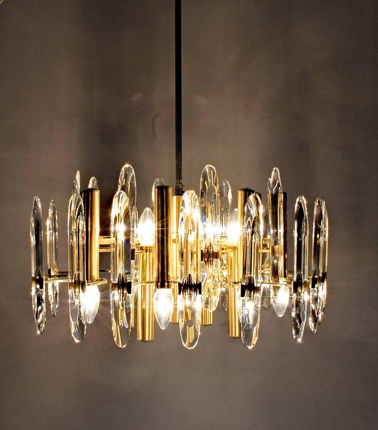 Sciolari Gold Brass Led Crysal Mid-century Chandelier 12 Lights Stilkronen  70s  For Sale 5